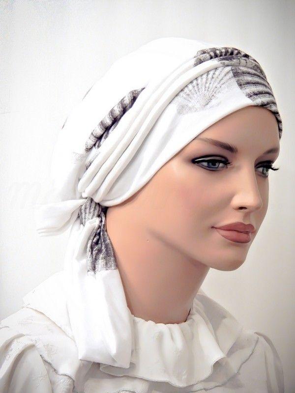 Moriya Snood Beret Scarf Tichel Mitpachat Hat Piping Ties White Shell