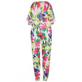 Off The Shoulder Frill Tropical Print Jumpsuit