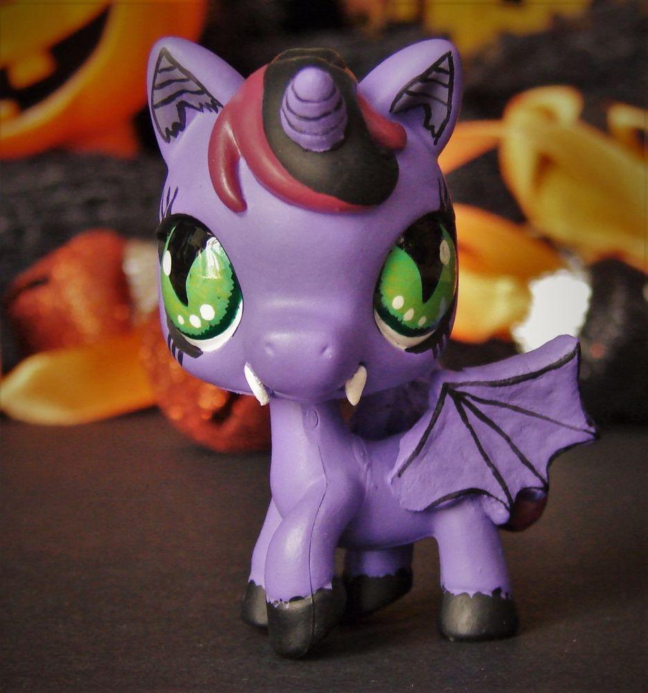 vampire littlest pet shop ooak custom figure lps halloween unicorn gothic emo hasbro