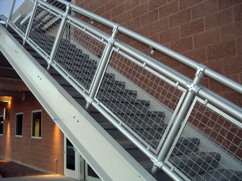 Woven wire metal railings exterior wall along with - Metal railings for stairs exterior ...