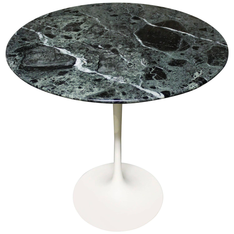 Eero Saarinen Tulip Side Table For Knoll With U0027Verdi Alpiu0027 Green Marble Top