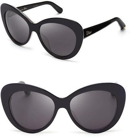 9e18a4c5cf DIOR Black Promesse Oversized Cat Eye Sunglasses - Lyst