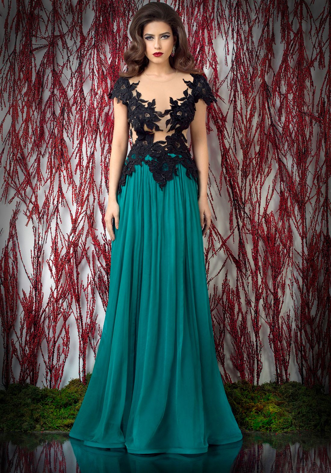 47b5d2fff1 Open back a-line evening dress with manual lace and beaded embroidery tulle  top and