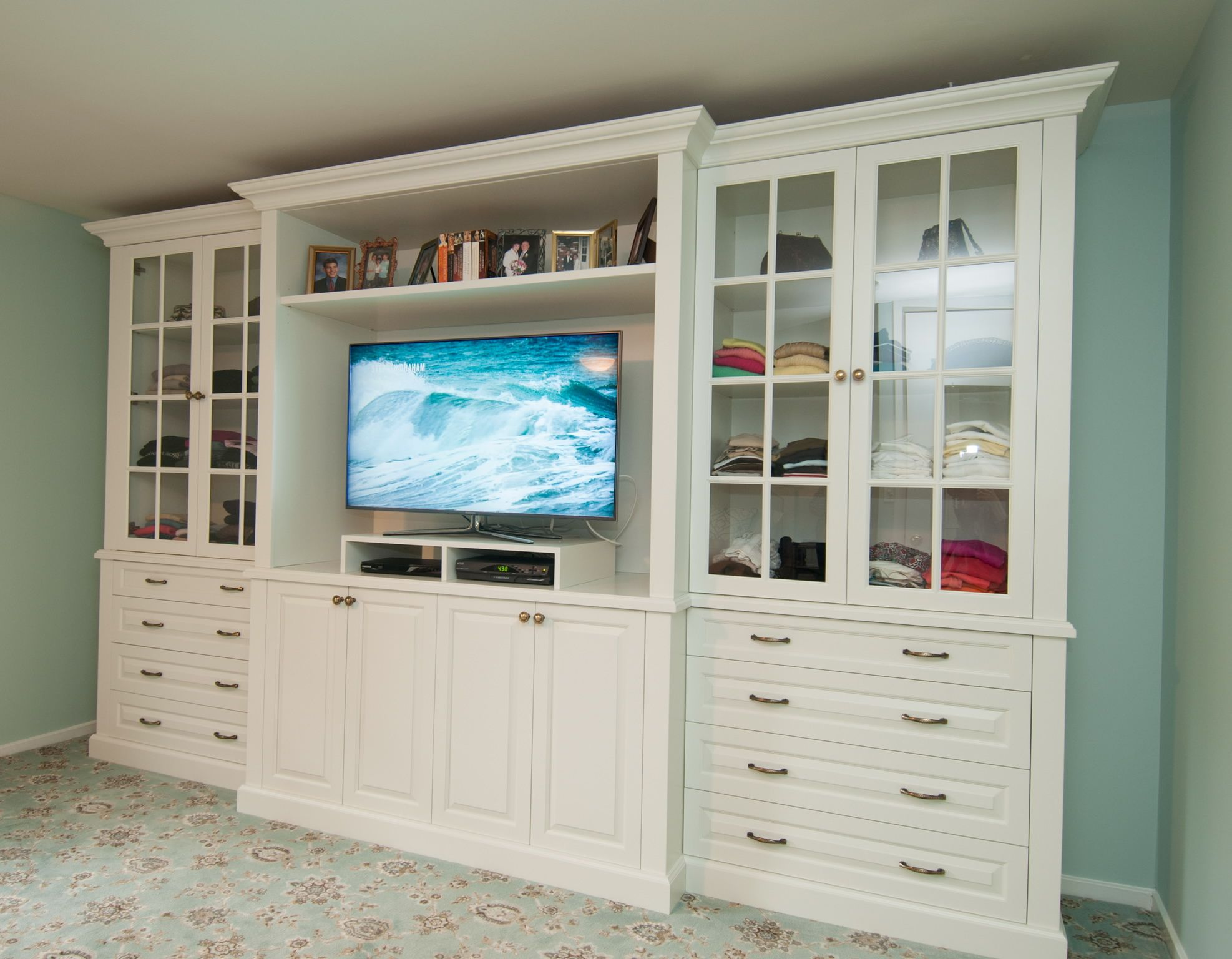 bedroom tv stand dresser. TV stand  dresser and display shelves combination creates elegant built in style efficiency