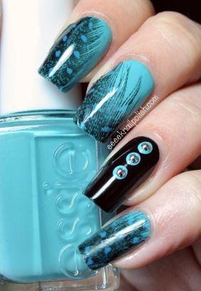 Feathers Eeeek Nailpolish Nail Nails Pretty And Cool Blue Nail