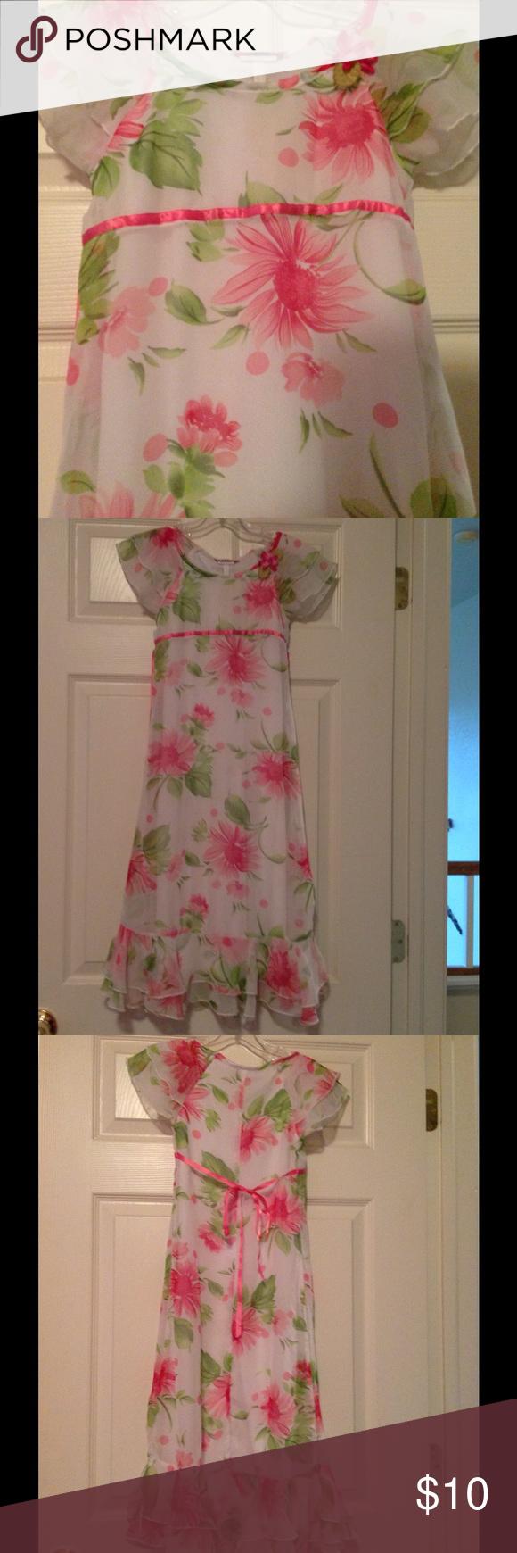 Organzachiffon flowered girls long dress