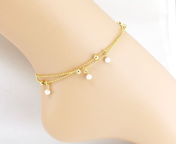 72df965d3dcf7 Gold Anklet Pearl Beaded Leg Bracelet Foot Jewelry Ankle Bracelets ...
