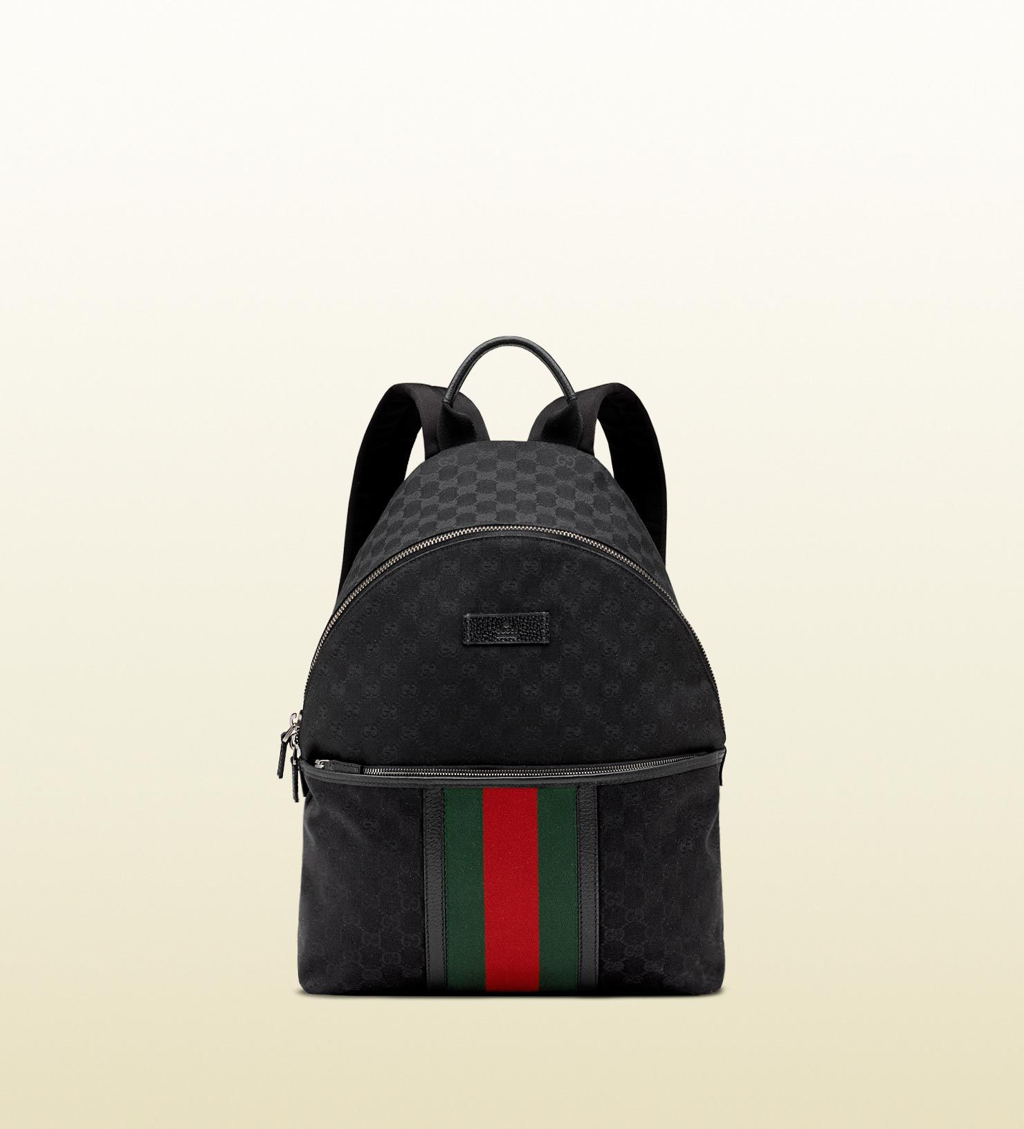 34fe9aa5b7af medium backpack w/ classic double G print and green red green web ...