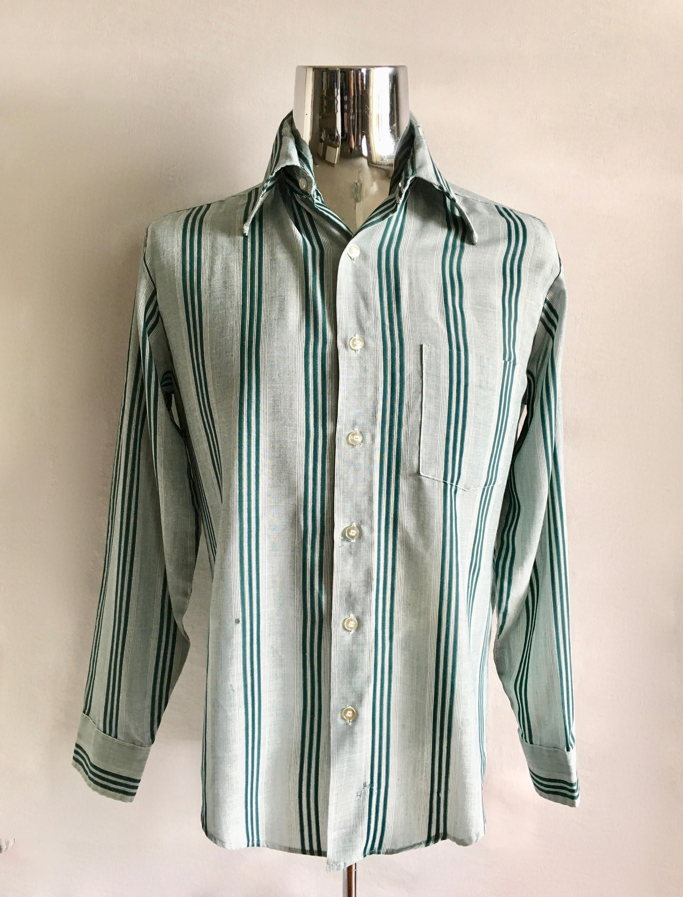 8429141f Vintage Men's 70's Striped Shirt, White, Green, Long Sleeve by Towncraft  (M) by Freshandswanky on Etsy