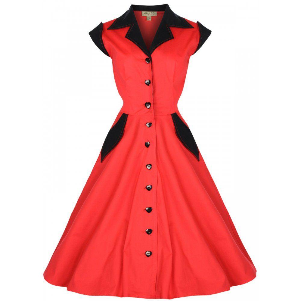 Jeanette Red Shirt Dress   Vintage Inspired Fashion - Lindy Bop ...