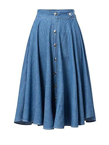 Skirt BL Womens Elastic Waist Pleated A Line Long Denim Skater Jean Skirt Dress -- Check out this great product.