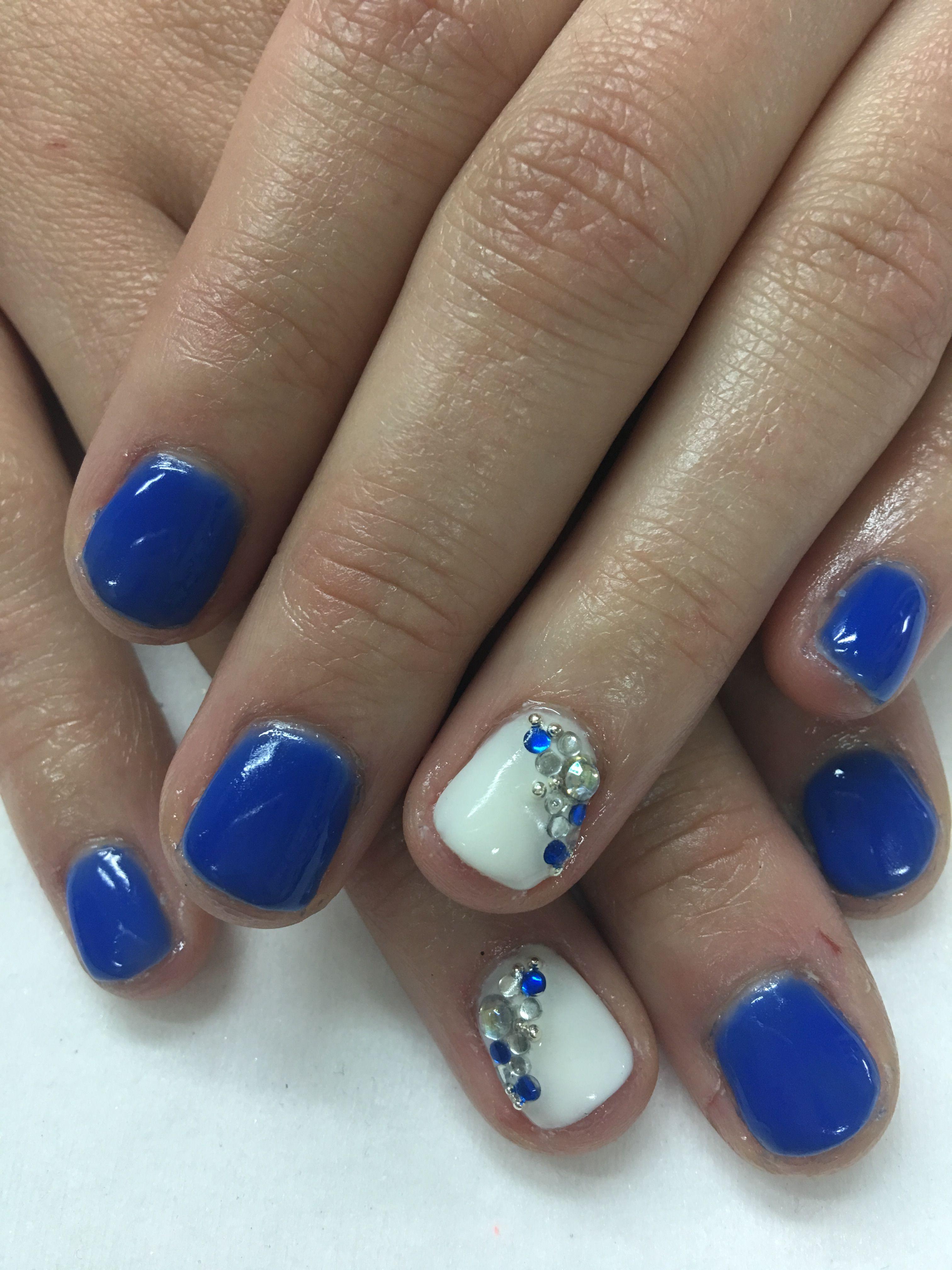royal blue white rhinestones bling