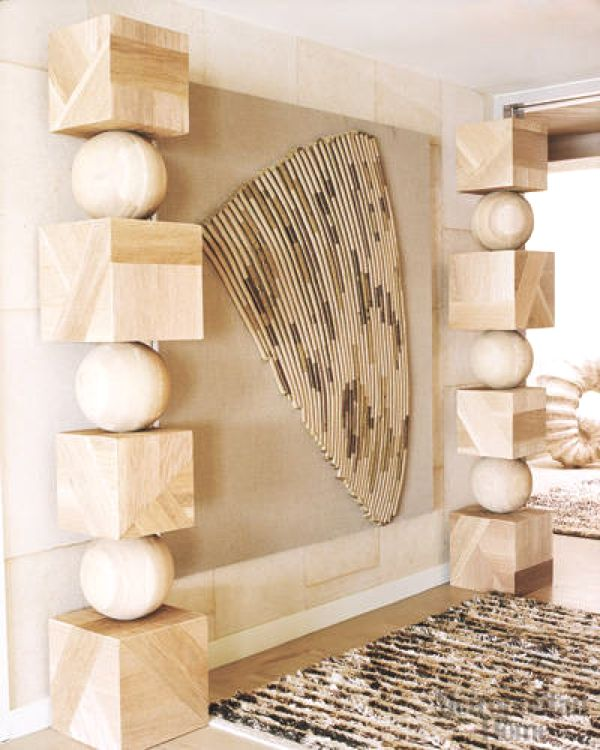 Kelly Wearstler Beach House: Kelly Wearstler Malibu Home-The Striated Fabric Wall Piece