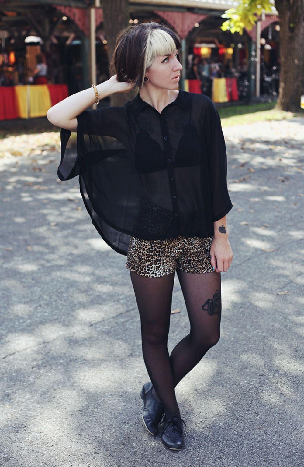 Down blouse black pantyhose