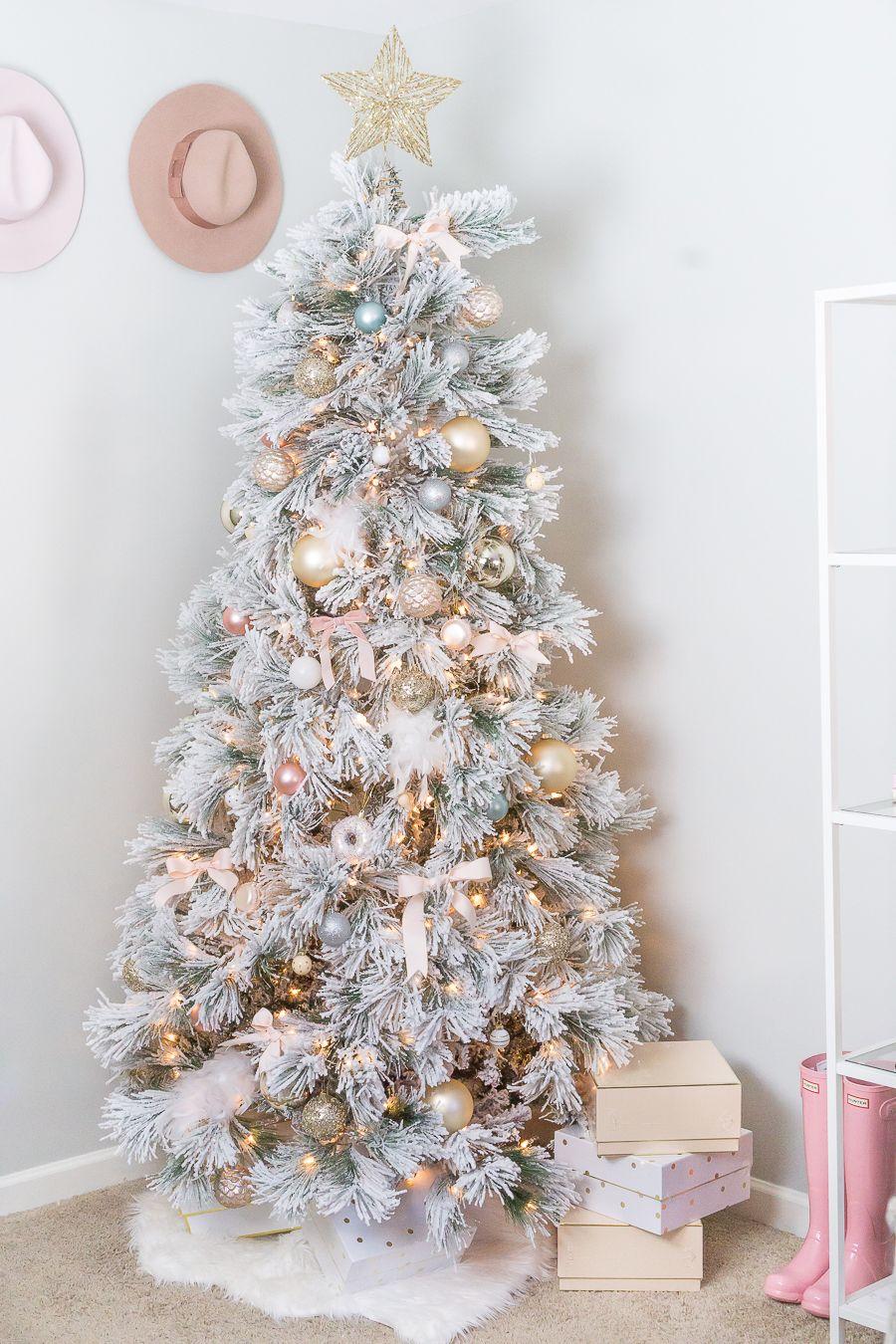 Blush And Gold Feminine Christmas Tree Strawberry Chic Gold Christmas Tree Decorations Christmas Tree Bows Gold Christmas Tree