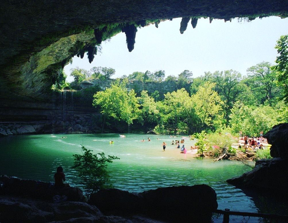 Hamilton Pool just outside Austin Texas - get there early it's a popular spot in the summer. #Austin #texas #hamiltonpool #dontbelate #travel #trip #destination #getoutside #havefun #seeeverything #swimminghole #swimming #swimsuit #swimtrunks #bikini #vacation #tan #timelesstravels