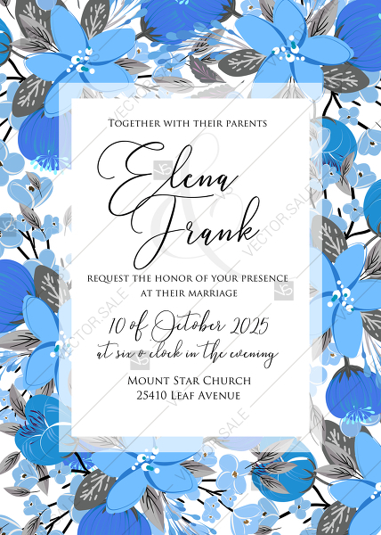 Wedding Invitation Card Template Blue Floral Anemone Party