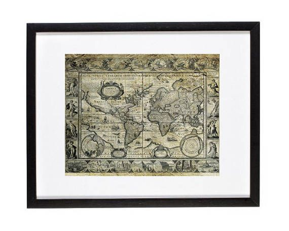 Vintage world map print old world map wall decor world map wall vintage world map print old world map wall decor antique map wall art gumiabroncs Image collections