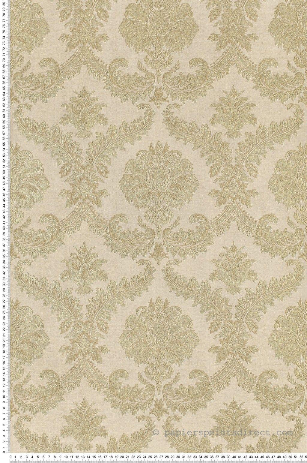 Papier Gaufré À Peindre papier peint grands médaillons irisés beiges-verts - canal