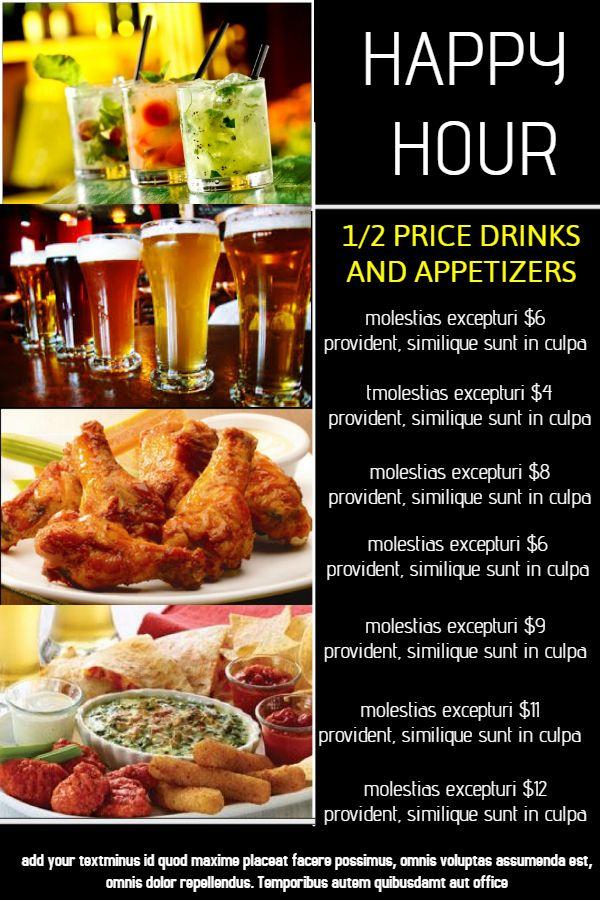 Bar Happy Hour Menu Click To Customize Menu Templates Menu
