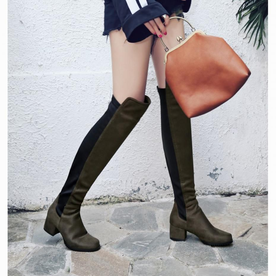 e91cc04daed Plus Size 34 43 2017 New Women Stretch Faux Suede Over The Knee Boots Flat Thigh  High Boots Sexy Fashion Shoes Woman Heels Shoes-in Over-the-Knee Boots from  ...