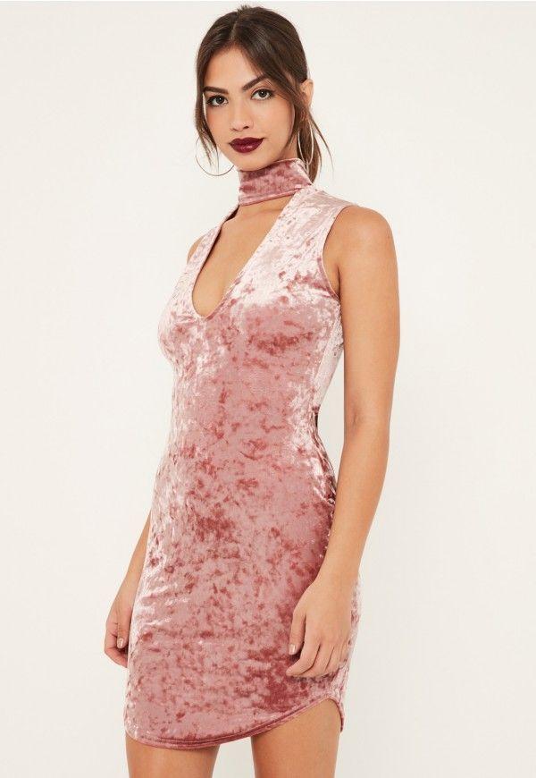 pink crushed velvet choker detail bodycon dress | Missguided | Pinterest