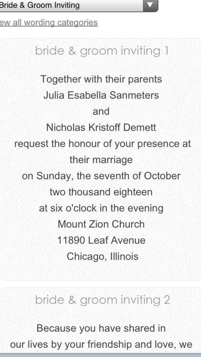 Wedding invitation wording for separated parents | Demo-Laur invites ...