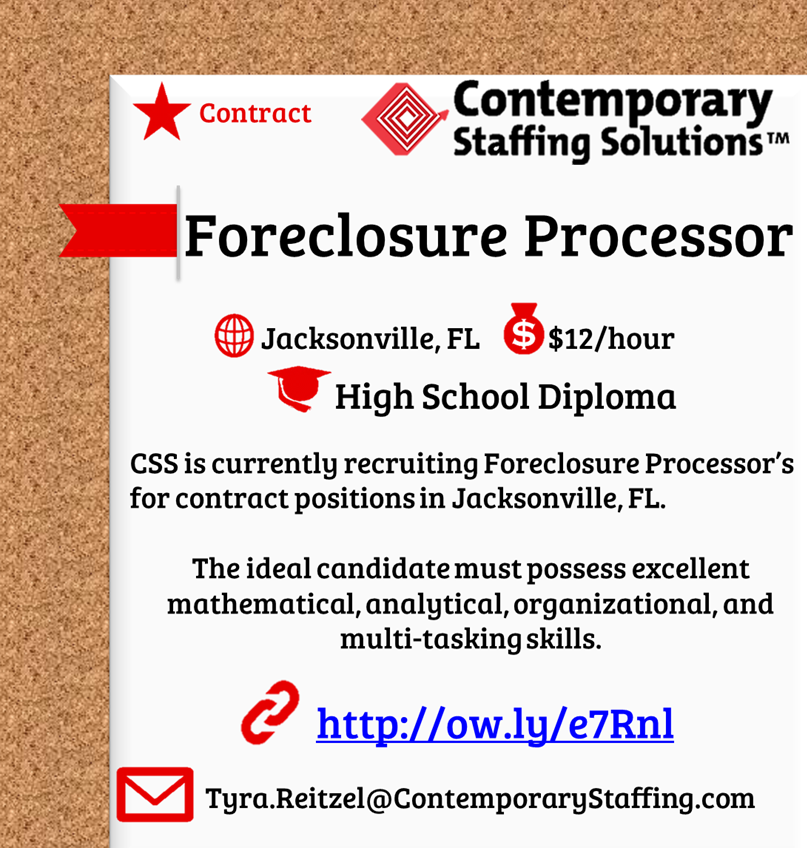 css is  hiring foreclosure processors in jacksonville  fl