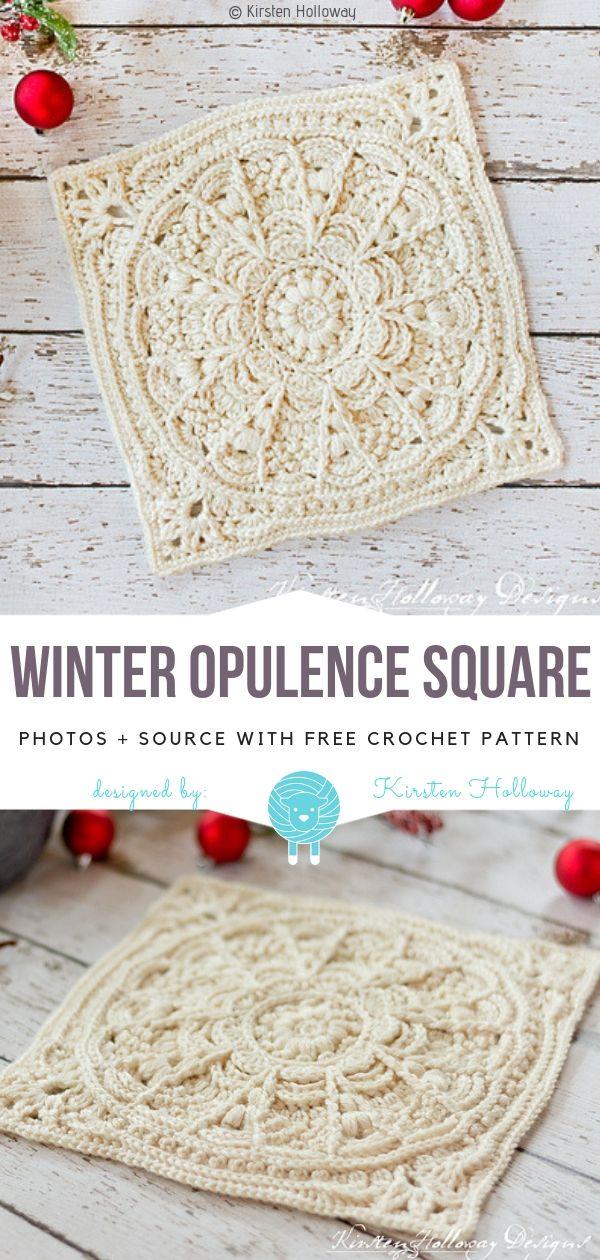 Winter Opulence Square kostenlose Häkelanleitung #crochetstitchestutorial