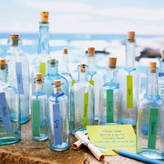 Message In A Bottle Beach Themed Wedding Details Love This Idea