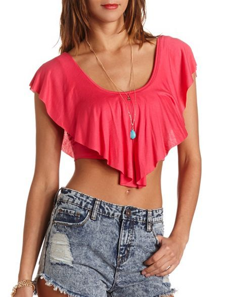 097cdf910992b Ruffle Flounce Crop Top: Charlotte Russe | Charlotte Russe | Tops ...