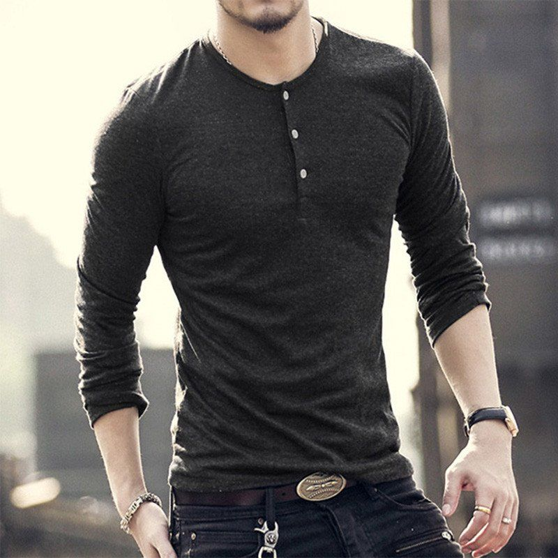 New Fashion Men Tee Long Sleeve Henley Shirts Military