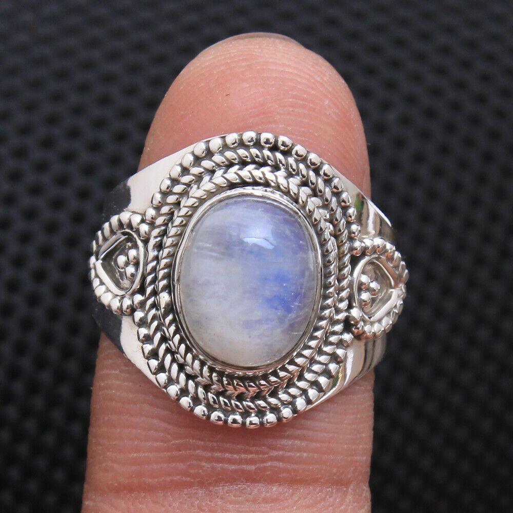 Designer Ring Gray Moonstone Gemstone Unique Ring Ring Size- 7.5 US Solid Silver Ring Gray Moonstone Ring Gemstone Ring Handmade Ring