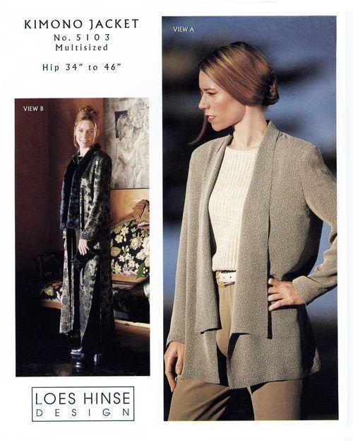 Patterns - Loes Hinse #5103, Kimono Jacket pattern. All sizes come ...