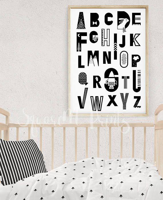 Nursery Alphabet Poster Kids Alphabet Letters Black and White Nursery Wall Art Monochrome Nursery Scandinavian Art Digital Download Gift  sc 1 st  Pinterest & Nursery Alphabet Poster Kids Alphabet Letters Black and White ...