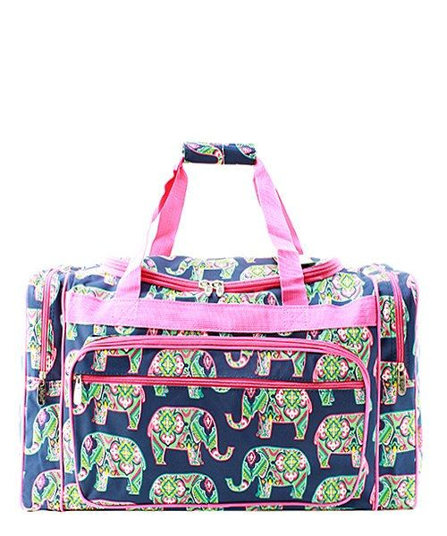 Monogram Duffel Bag Navy Elephants Personalized Overnight Bag by DoubleBMonograms on Etsy