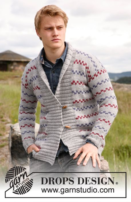 Cedric / DROPS 135-21 - Cardigan de punto para hombre con cuello ...