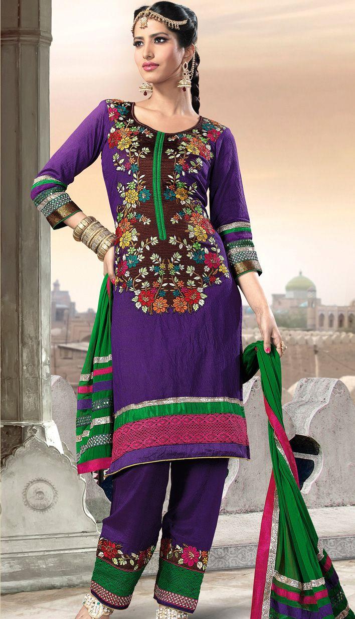 Shop online purple #ChanderiSalwar #PartyWearSuit Product code: KPW ...