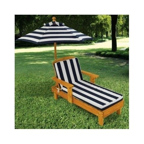 Kidkraft For Kids Only Outdoor Chaise With Umbrella And Navy Stripe