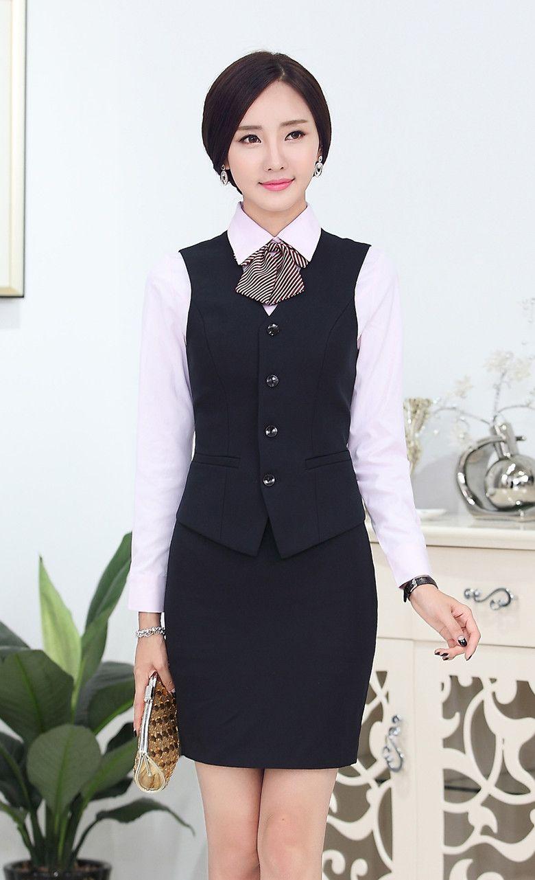 Fasormal mujeres trajes de negocios con falda y la parte superior establece para  mujer trajes de oficina uniforme de trabajo para salón de belleza 0cf4dc2e3084