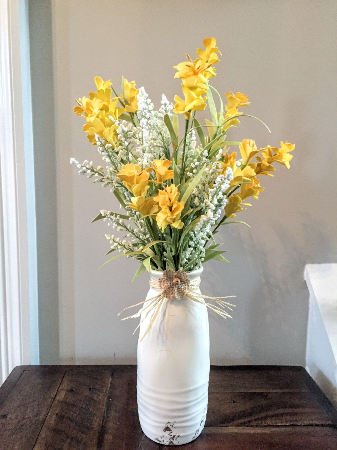 Silk Floral Arrangement Yellow Wild Flowers And White