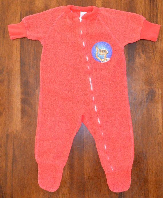 9838172f4 80s vintage footy pajamas E.T. red footie pj s fleece sleep children ...