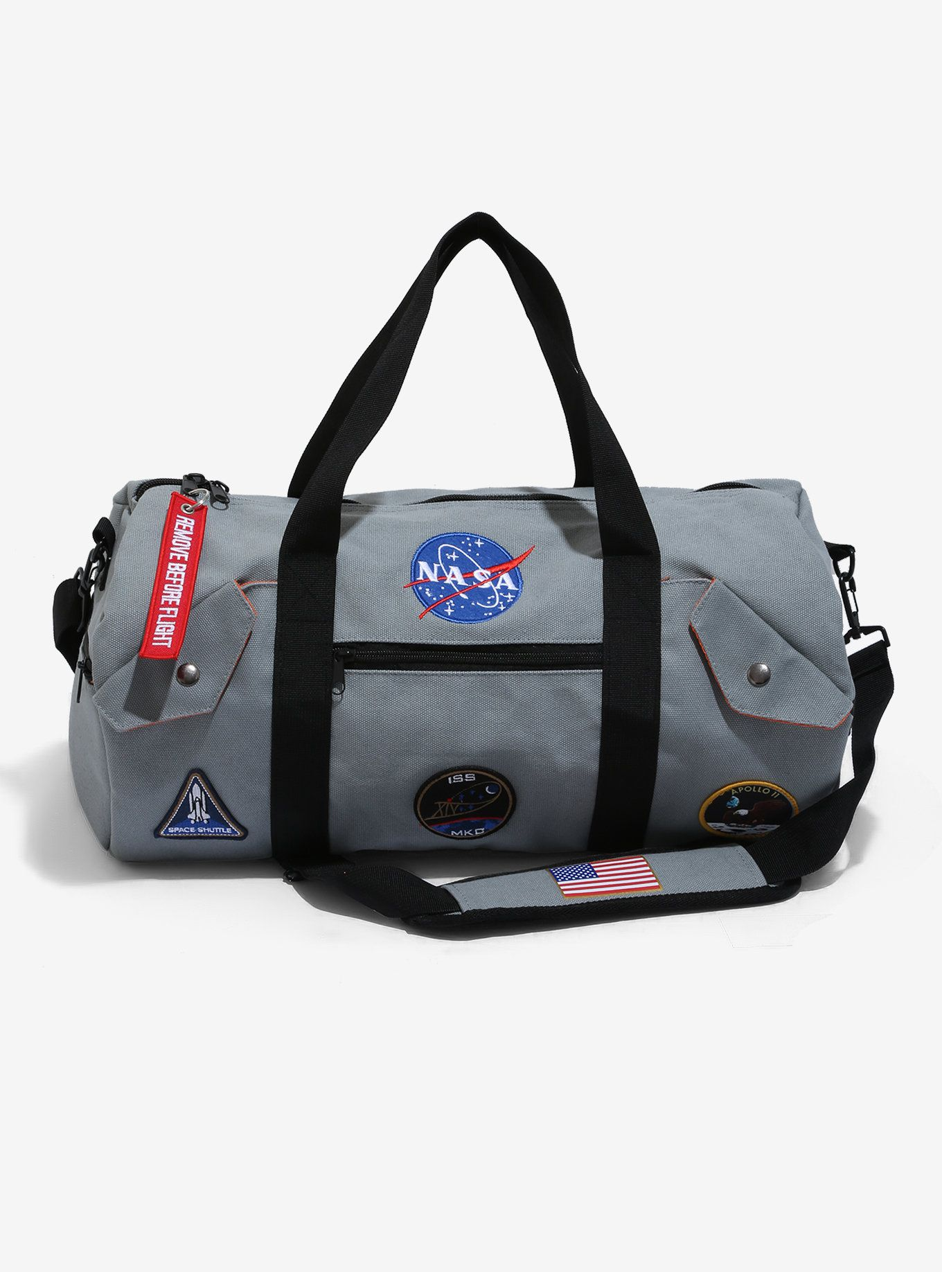 the best attitude 7f7e0 e81bd This grey duffel bag from NASA features space travel themed patches and has  multiple pockets for your travel convenience. A BoxLunch Exclusive!
