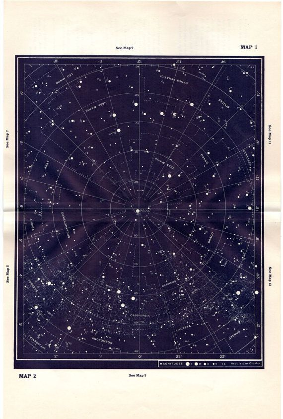 Antique Astronomy Print Constellations Star by AntiquePrintGallery