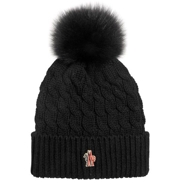 9cb782e460c Moncler Grenoble Women Wool Cable Knit Hat W  Fox Fur Pom Pom ( 245) ❤  liked on Polyvore featuring accessories