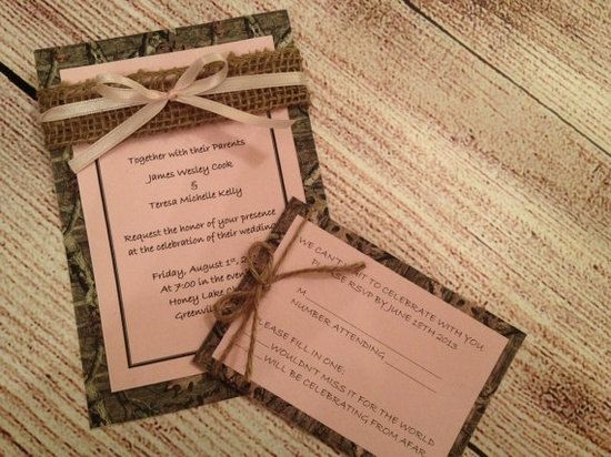 Mossy Oak Camo and Light Pink Wedding Invitation with RSVP cards ...