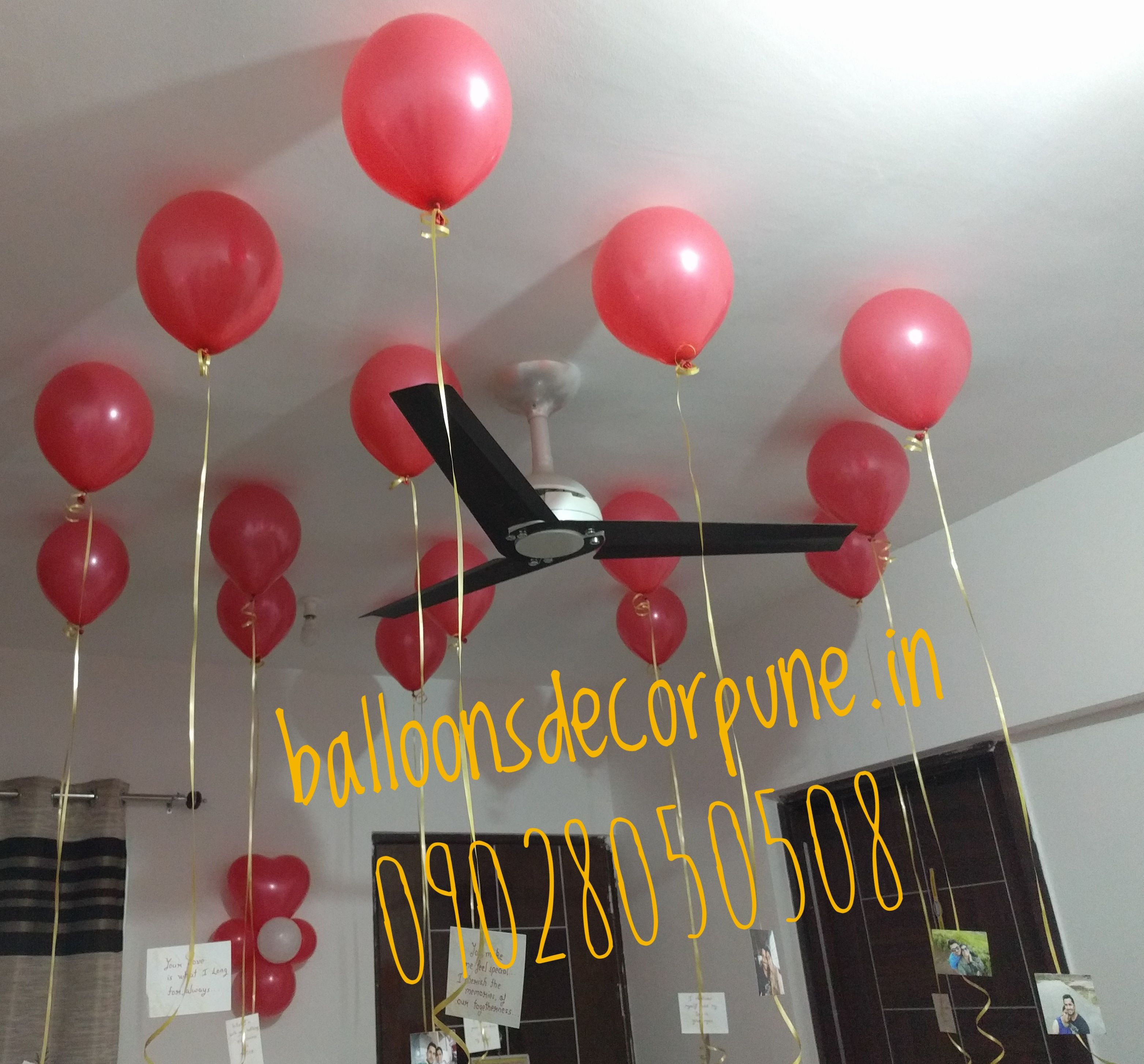 Helium gas ceiling balloons decoration helium gas for Balloon decoration in pune