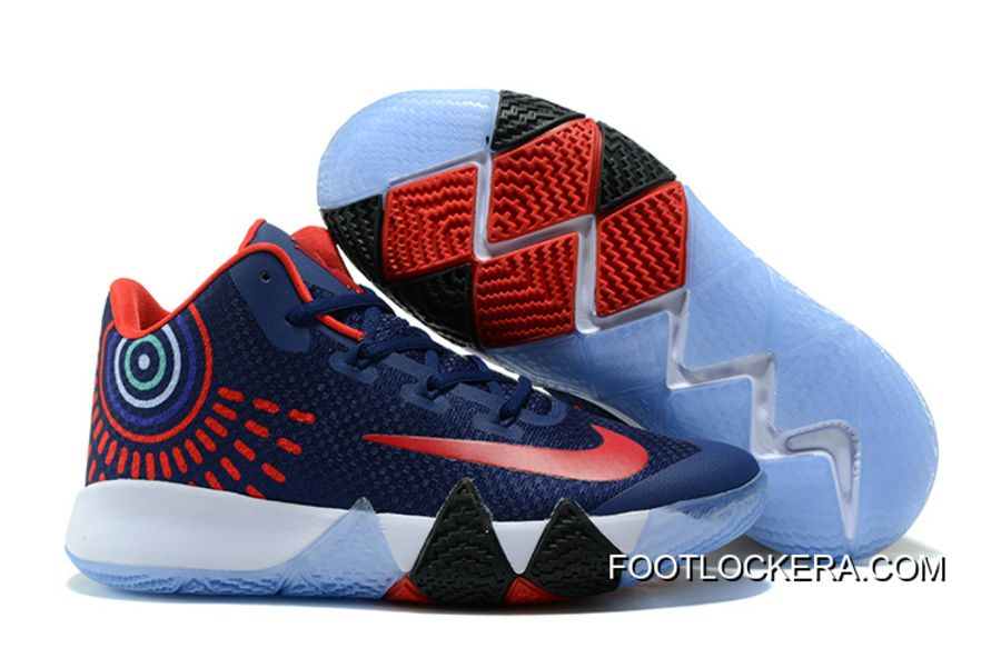 2018 Nike Kyrie 4 Navy BlueRed White New Release