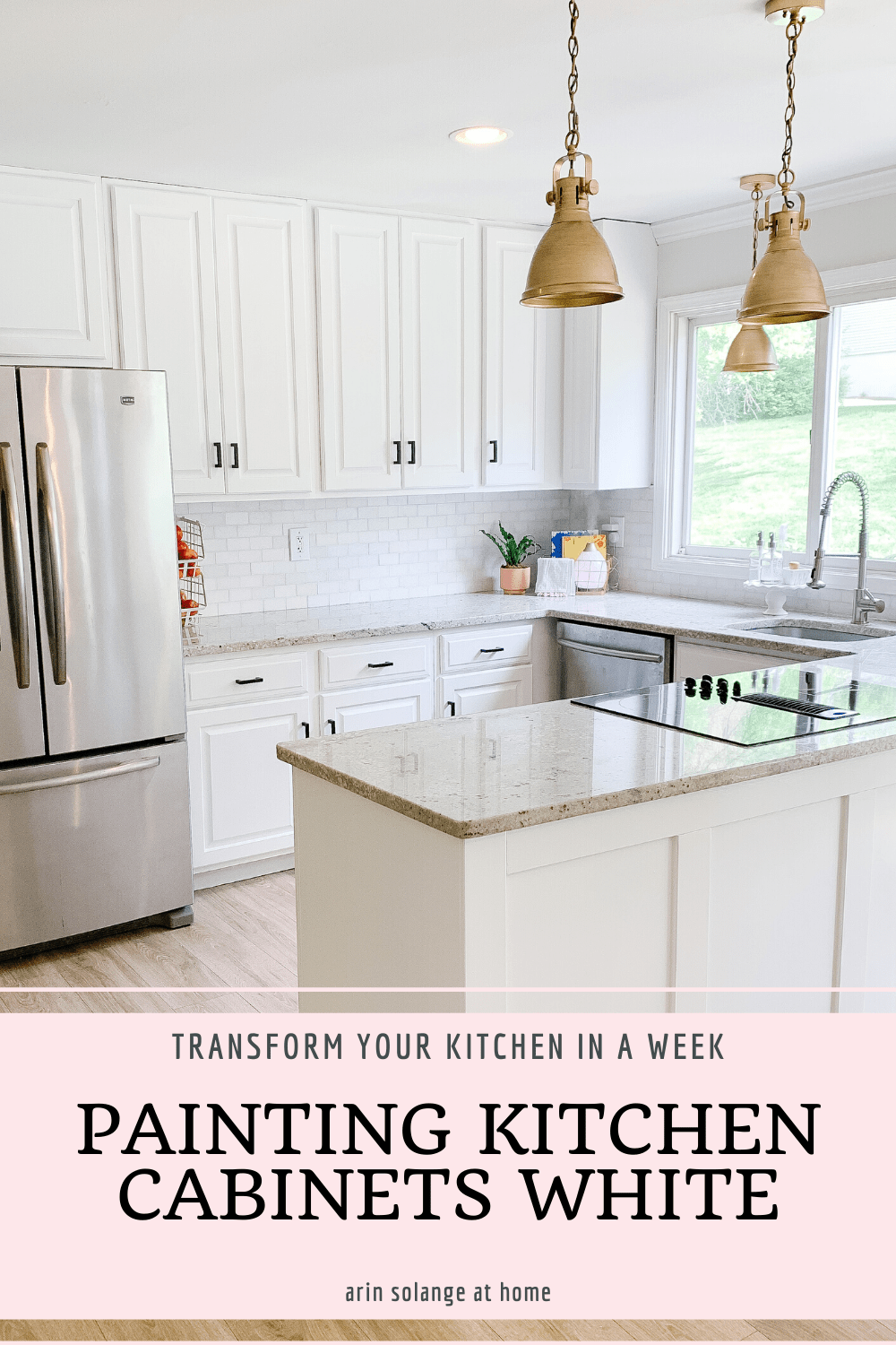 Painting kitchen cabinets white to last - check out how I transformed our kitchen on a budget, and made these cabinets to last #paintingkitchen #paintedcabinets #whitekitchen