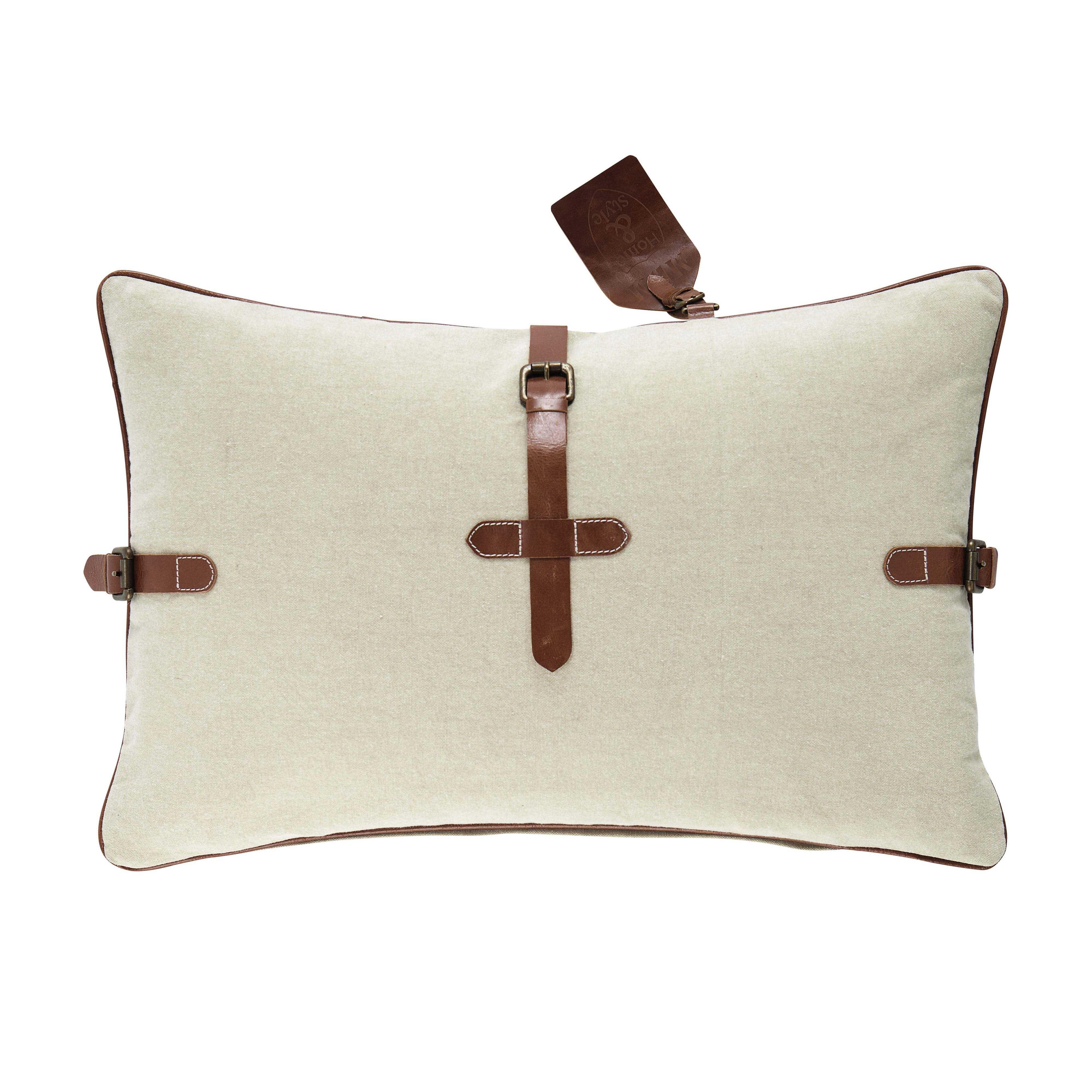 Cojín de algodón beis y marrón x cm montaigne maisons du